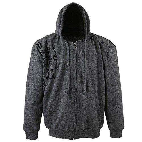 Herren Sweatshirt Jacke mit Druck von Lavecchia in Übergröße in grau