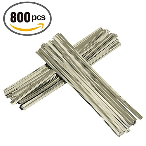 Mini Skater 800 Pieces Metallic Plastic Twist Ties 6 Inches Bag Ties for Cellophane Party Bag (800, Silver) (Mini Treat Bags Twist Ties compare prices)