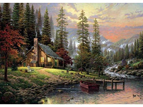 Tutu.vivi Frame DIY Oil Painting Paint by Number Kit- Quiet Cabin in The Forest 16x20 inch Linen Canvas Without Frame