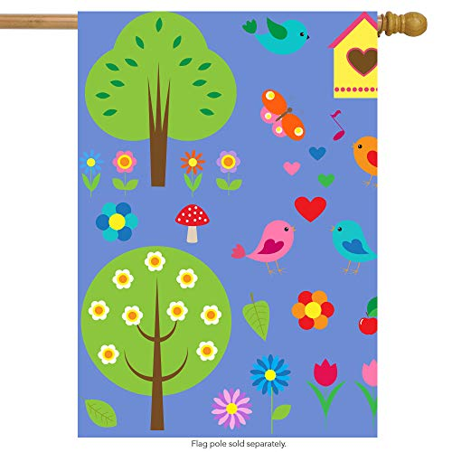 ShineSnow Colorful Spring Flower Floral Bird Tree House Flag 28
