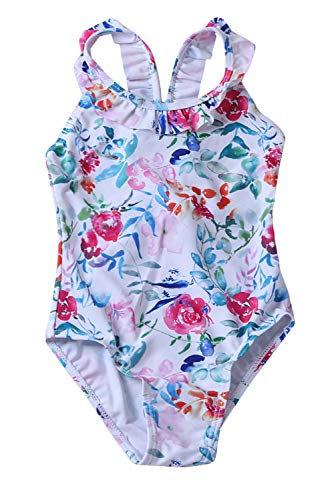 - joo meryer Girls One Piece Swimsuits Plunge V Back Floral Pattern Maillot for Kid Girls,White,7-8T