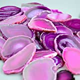 "FHNP367-5 Pieces Agate Slices Stone Slab 2""-3"" in Length for Wedding Name Cards Namecards Place Cards - Rose"
