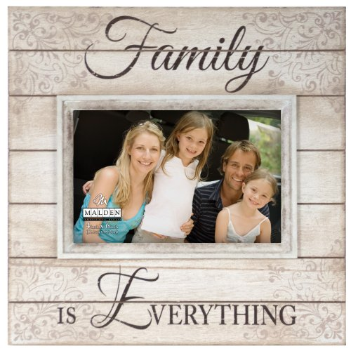 Malden International Designs Sun Washed Words Family Distressed Cream Picture Frame, 4x6, Cream
