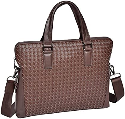 26e5d1bd4fbbc7 Unisex Slimline Brown Leather Briefcase Cross Work Messenger A4 Office  Satchel Shoulder Bag - Benin. Loading Images.