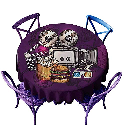 Zodel Indoor/Outdoor Round Tablecloth,Modern Cartoon Like Cinema Movie Image Burgers Popcorns Glasses Watching Film,Modern Minimalist,60 INCH,Purple Earth Yellow -