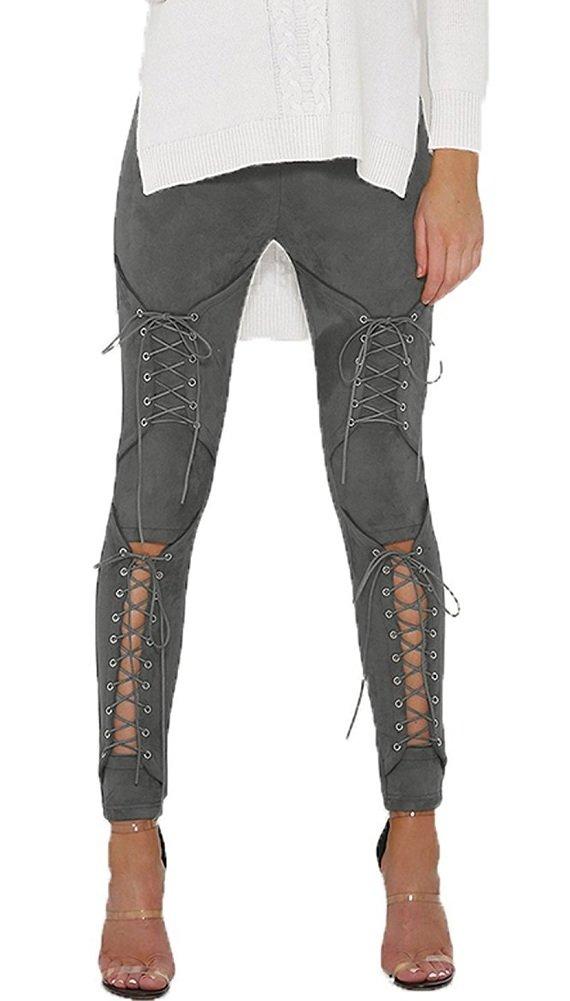 Sorrica Women's Sexy Crisscross Lace Up Bodycon Faux Suede Leggings Pants (L, Grey)