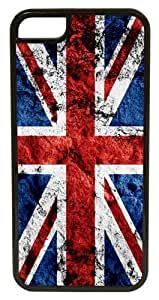 iPhone 5c Case, CellPowerCasesTM Grunge British Flag Black Case for iPhone 5c [Flex Series] [5c V3 Black Case]