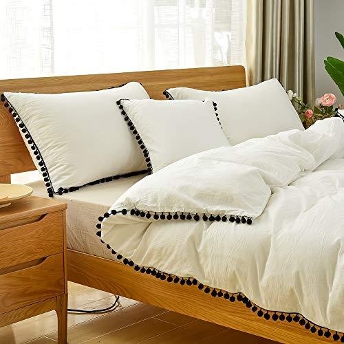Softta Boho Bedding King Duvet Cover 3 Pcs White Girls Bedding Teen Vintage Ruffle Modern Boho Bohemian 100% Washed Cotton Black Pom-Fringe Bedding