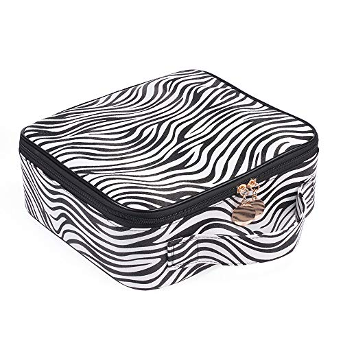 JUER Travel Makeup Train Case with Adjustable Dividers White Marble Makeup Organizer Bag Portable Cosmetic Storage Cases with Brush Holders (Zebra texture)