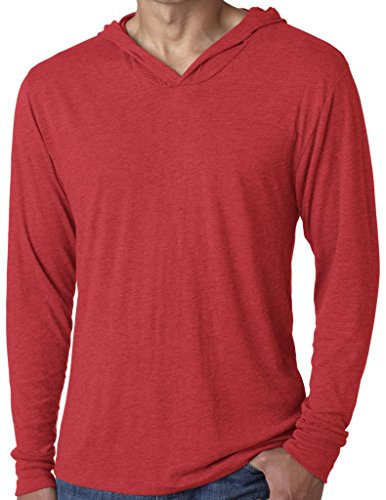 Yoga Clothing For You Mens Triblend Lightweight Hoodie Tee, XL Vintage Red