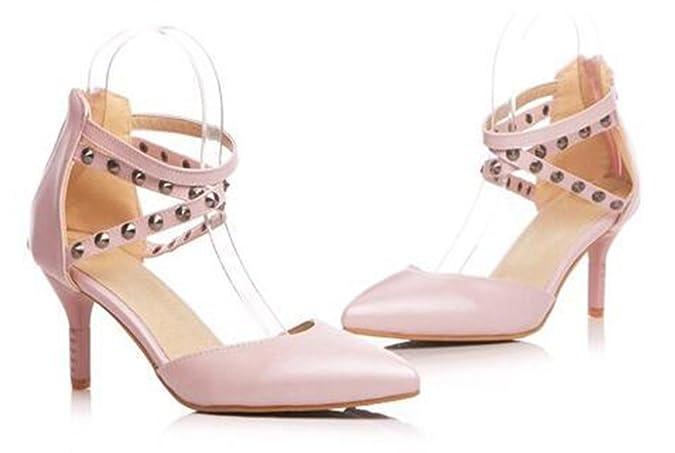 SHOWHOW Damen Nieten Gekeuzt Band Cut Out High Heels Sandalen Pink 39 EU 1i5dhFV2