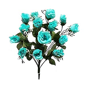 14 Long Stem Artificial Roses Buds Teal Aqua Silk Wedding Flowers Bouquet Centerpieces 33