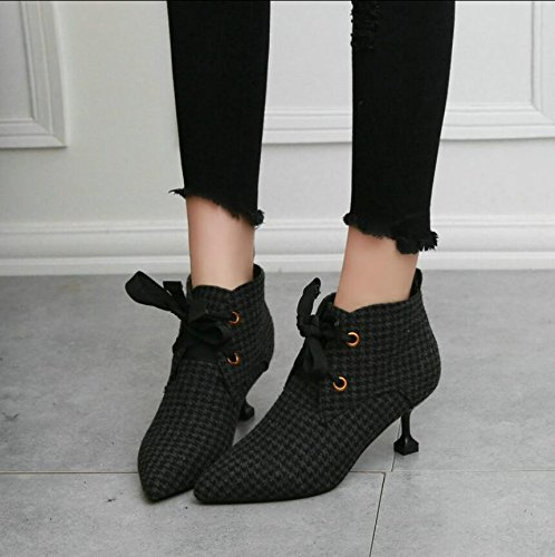 KHSKX-Knitted Cloth Top Tether Strap Boots With A Small Tip Women Shoes Bare Boots Elegant Cat With And Ankle Boots 38