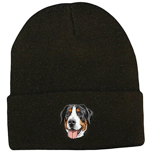 Cherrybrook Dog Breed Embroidered Ultra Club Classic Knit Beanies - Black - Greater Swiss Mountain ()