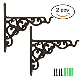 TinaWood 2PCS 6.9″ x 8.1″ Cast Iron Hanging Basket Vintage Wall Hook with Screws/Decorative Plant Hanger For Bird Feeders, Planters, Lanterns, Wind Chimes, As Wall Brackets and More! (2)