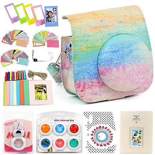 (wogozan Bundles About Instax Mini 8 Accessories Includes Smear Color Camera Case for Fuji Instant Mini Camera 8/Photo Album for instax Mini 8 Film/Colored Filters/Film Frames/Selfie Lens and Others)