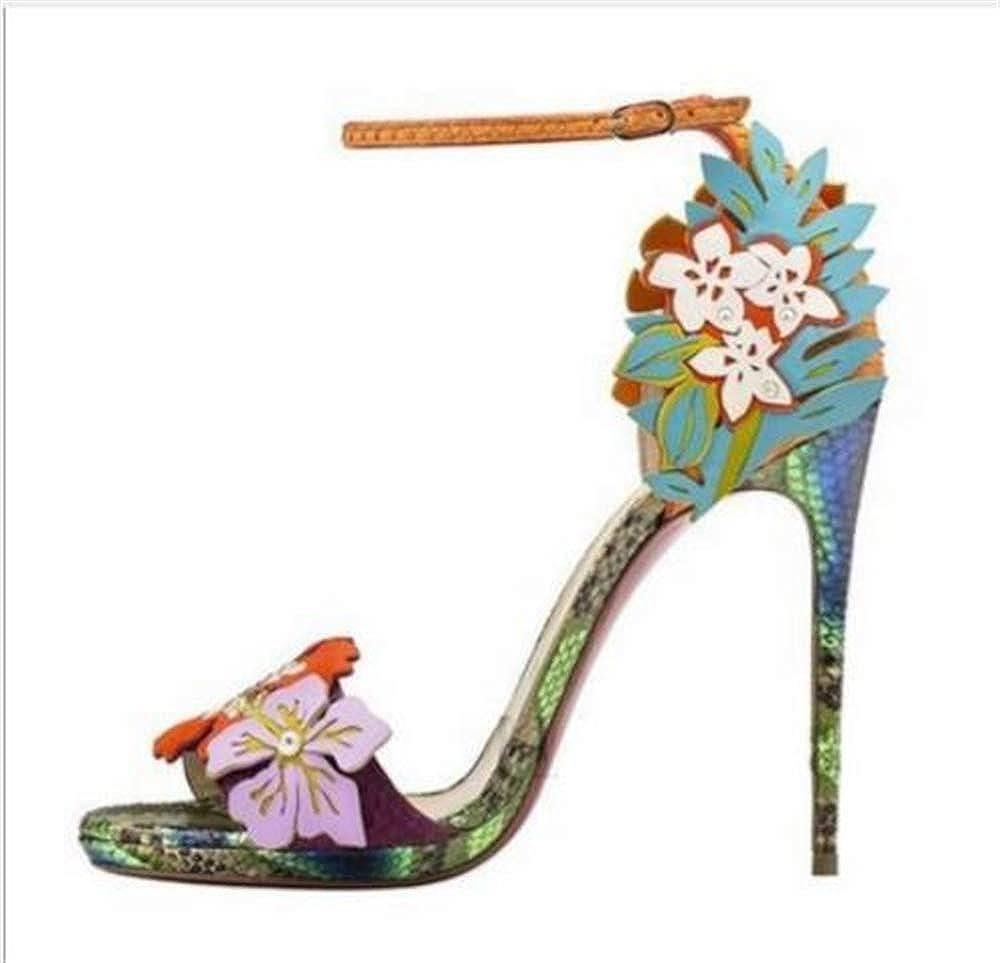 COLOV Womens Stilettos Flowers Super high Heel Sandals Party high Heels