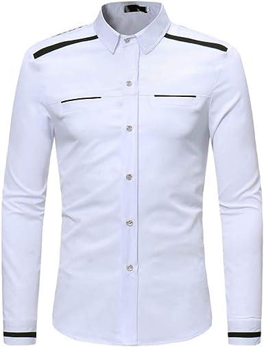 Loeay Camisas de Hombre Tamaño de Europa Camisa de Hombre Slim Fit Camisa de Manga Larga sólida Casual Casual Camisa de algodón Hombre: Amazon.es: Ropa y accesorios