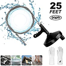 Upgraded PQPB Plumbing Snake Drain Auger 25 FEET, For Removing Sink Clog Bathtub Drain Bathroom Sink Kitchen and Shower Easy Use Best Chemicals Replacement Come With Durable Gloves (Black)