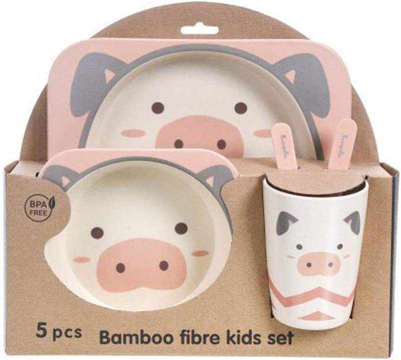 Set Cutlery Set Cartoon Fork XXM 5-Piece Baby Feeding Tableware Childrens Tableware Natural Bamboo Fiber Bowl with Spoon Plate