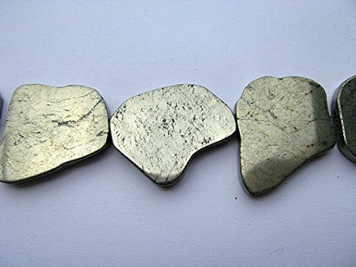 - 2strands Natural Raw pyrite crystal freeform slab nuggets pyrite iron gold pyrite pendant 30-60mm
