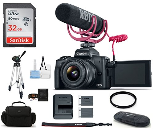 Canon EOS M50 Mirrorless Digital Camera with 15-45mm Lens Video Creator Kit – Black (USA Warranty) Bundle, Includes: 32GB SDHC Class 10 Memory Card + Full Size Tripod + Spare Battery + more