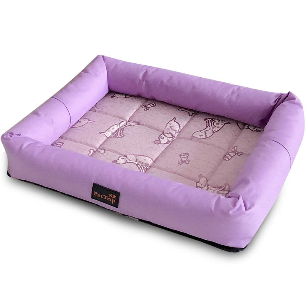 PURPLE M PURPLE M YT- Luxury Pet Bed Waterproof Orthopaedic Memory Foam Dog Bed, Breathable Cotton Cover, Removable, Washable, Easy to Clean (color   Purple, Size   M)