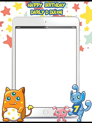 Customize Phone App Mobile Game Monster Concept Happy Birthday Photo Booth Prop - sizes 36x24, 48x36; Pesonalized Large phone Home Decorations, Handmade Party Supply Photo Booth Frame