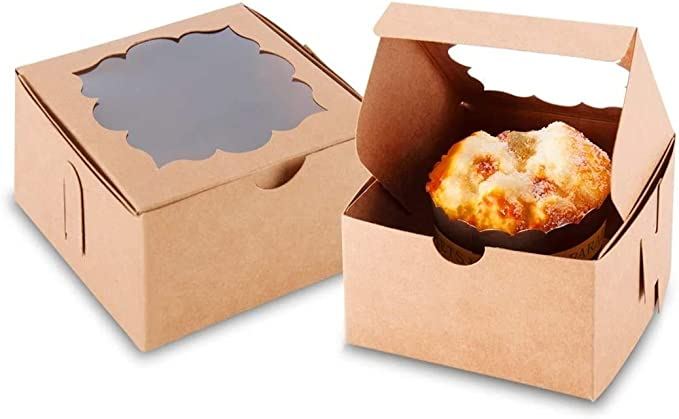 50 Individual Kraft Pie Boxes with 50 Wooden Forks  6 38 x 4 14 x 2 12