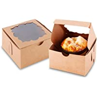 NPLUX 50 Pack Brown Bakery Boxes with Window 4x4x2.5 inches Cookie Boxes for Gift Giving