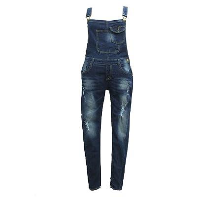 Femme Salopette avec Poche Poitrine Jean Femmes Overall Skinny Jeans