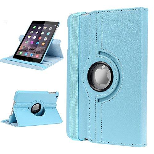Dealgadgets iPad Mini Case, 360 Degrees Slim Rotating Stand Leather Case Cover for Apple Ipad Mini 1/2 /3 Light Blue