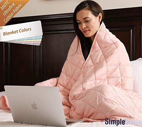 Simple Being Weighted Blanket (Shell Pink, 60x80 15lbs) Premium 300TC Cotton with Glass Beads