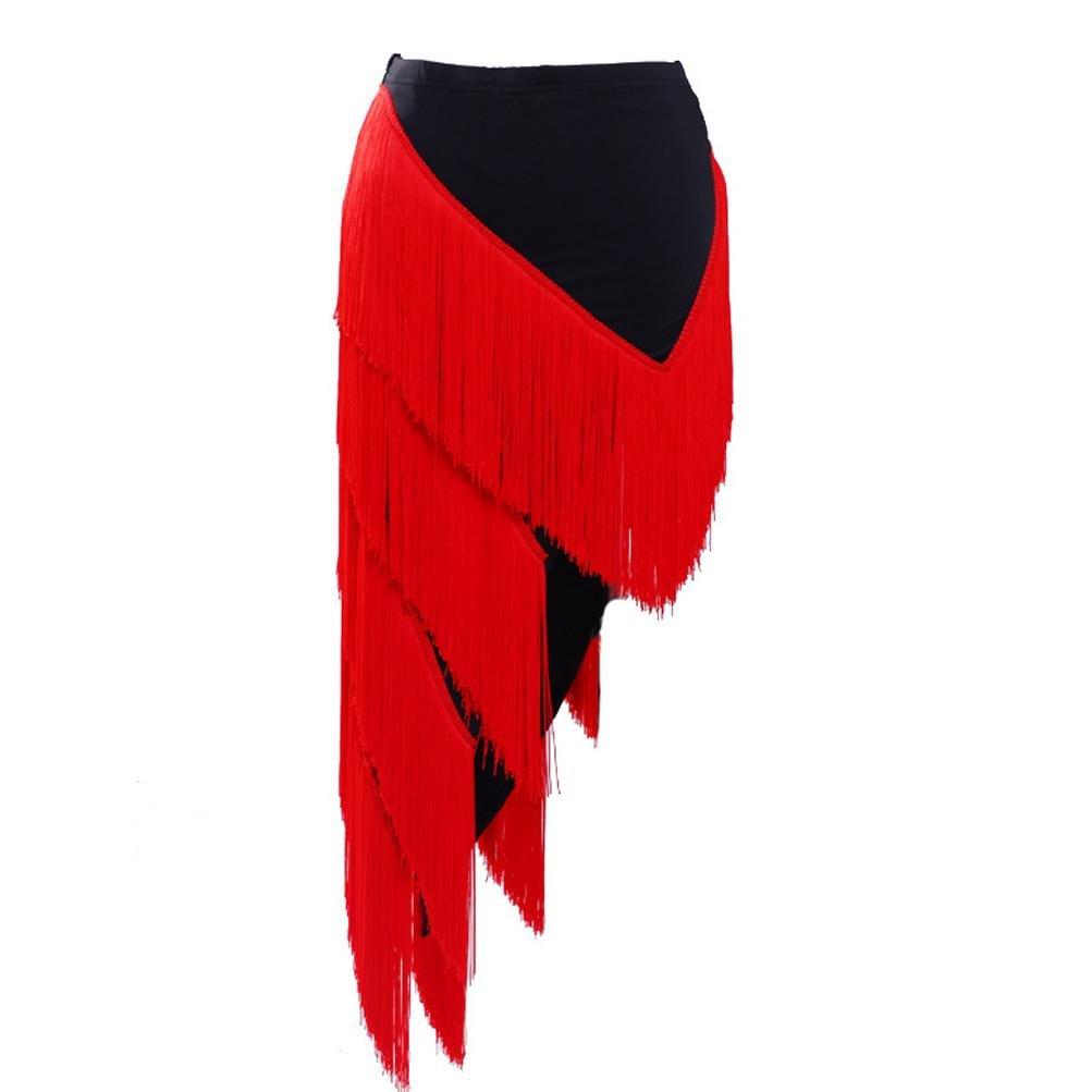 Rouge Wangmei sous la Robe Gland Jupe de Danse Latine Entraã®Nement Costume Couleur Unie Tissu de Soie Glacã©e S