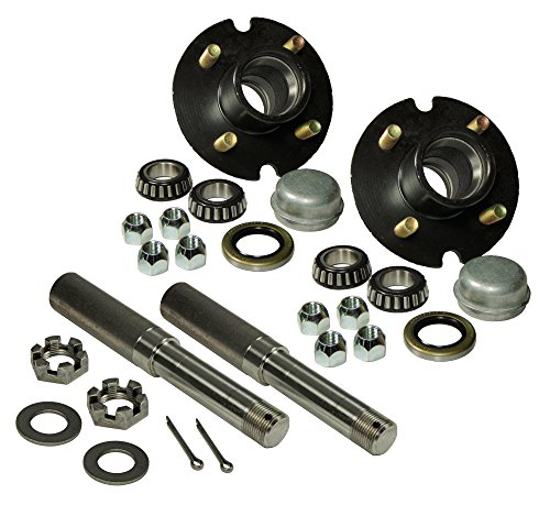 1 Bearing Assembly (Pair of 4-Bolt On 4 Inch Hub Assembly - Includes (2) 1 Inch Straight Spindles &)