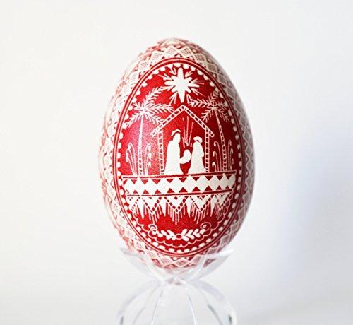 Nativity Stable scene Christmas Goose egg Pysanka Ornament and Gift