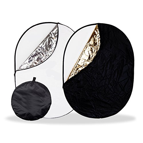 Dison 5-in-1 40'' x 60'' (100 x 150cm) Portable Photography Studio Collapsible Multi-Disc Light Reflector Kits with Carrying Bag - Gold, Silver, Translucent, White and Black by dison