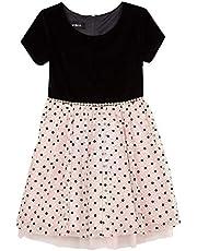 فستان Amy Byer للفتيات بأكمام قصيرة مناسب وواسع