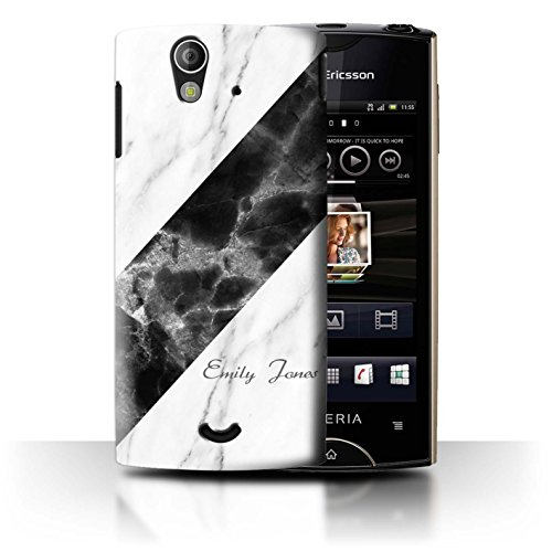 Personalized Custom Marble/Granite Case for Sony Xperia Ray/ST18i / Sash/Signature Design / Initial/Name/Text DIY - Text Ray