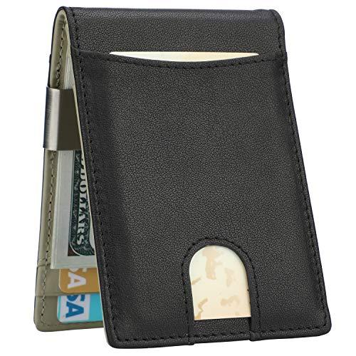 Lavemi Money Clip Wallet for Men Slim Front Pocket RFID Blocking Card Holder Minimalist Bifold Wallet(Black/Gray)