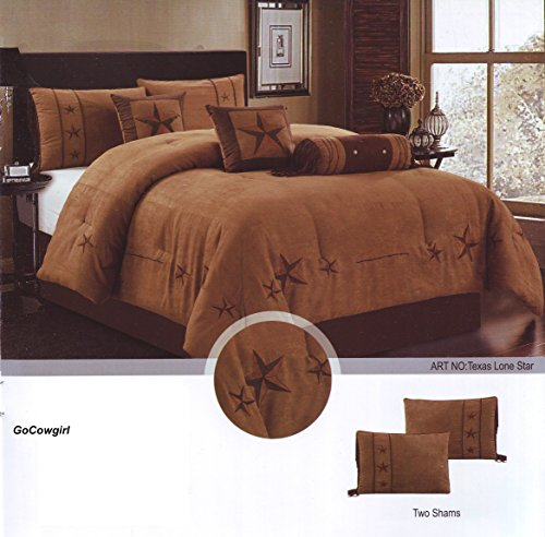 7 Pieces Luxury Western Lodge Oversize Comforter Set Lone Star Micro Suede (Queen, Light Brown)