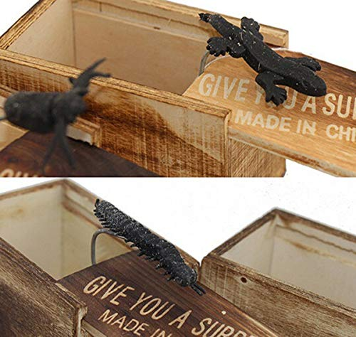 Funny Joke Prank Toy Spiders Lizards Prank Wooden Scare Surprise Box Joke Hilarious Toy Halloween April-Fools' Day -
