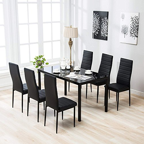 Mecor 7 Piece Kitchen Dining Set, Glass Top Table with 6 Leather Chairs Breakfast Furniture,Black ()