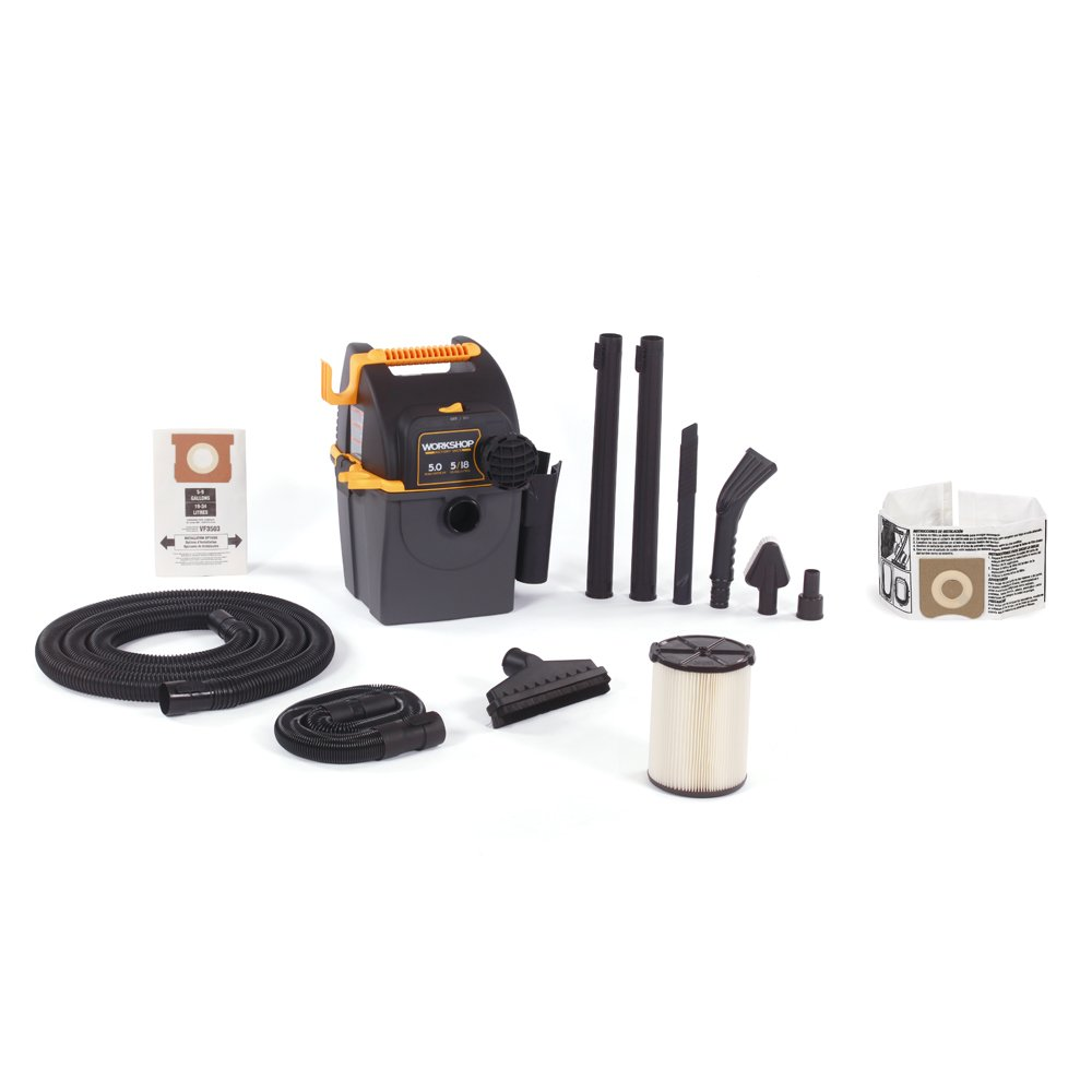 WORKSHOP Wet/Dry Vacs WS0501WM Portable Wall Mount Wet Dry Shop Vacuum for Auto with Dust Collection Bag