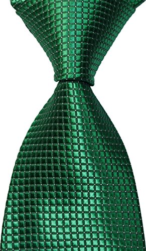 Pisces.goods New Classic Checked Jacquard Woven Mens Tie Necktie (Green)