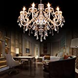 Cheap Ridgeyard E12 40W 10 Ligths Cognac Crystal Candle Style Chandelier Ceiling Lighting Pendant Luxury Romantic Lamp for Living Room Dining Room Bedroom Hall Balcony