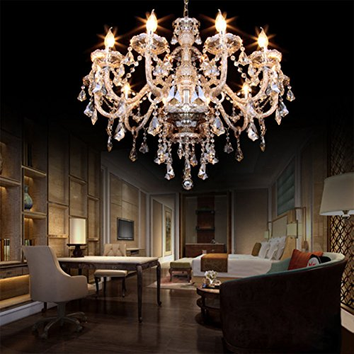 Ridgeyard E12 40W 10 Ligths Cognac Crystal Candle Style Chandelier Ceiling Lighting Pendant Luxury Romantic Lamp for Living Room Dining Room Bedroom Hall Balcony