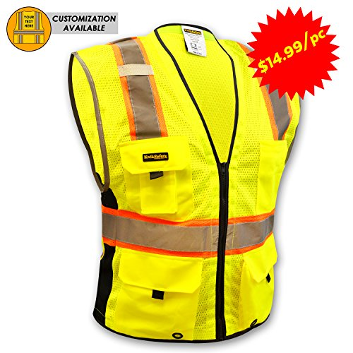 KwikSafety BIG KAHUNA | (2 Pack) Class 2 Deluxe Safety Vest | 360° High Visibility Reflectivity ANSI Compliant Work Wear | Hi Vis Breathable Mesh Men Women Regular to Oversized Fit | Yellow L/XL (2 Vest)