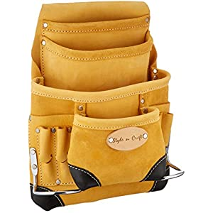 Style n Craft 93-923 10 Pocket Top Grain Tool Belt Pouch