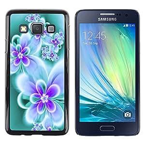 TopCaseStore / la caja del caucho duro de la cubierta de protección de la piel - Floral Butterfly Teal Vibrant Neon Colors - Samsung Galaxy A3 SM-A300